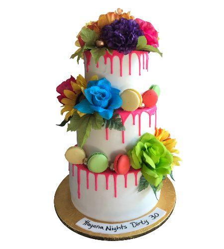 FLOWER & CHOCOLATE DRIP CAKE