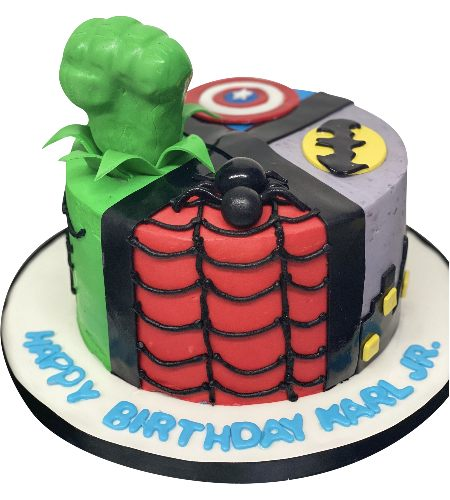 MUTIPLE SUPER HERO CAKE